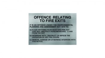 Fire Exit Notice Offence Sign