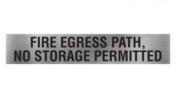 fire egress path no storage permitted